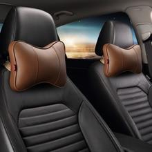 KKYSYELVA Leather Car Neck Pillow Comfort Breathable Auto headrest Pillows Seat Cushion Support Interior Accessories Black