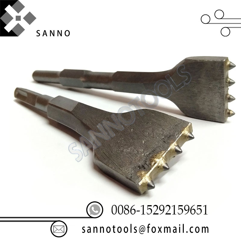 Forets à burin à haute résistance, tête de marteau électrique à 4 dents pour la construction de sites et la décoration de la maison