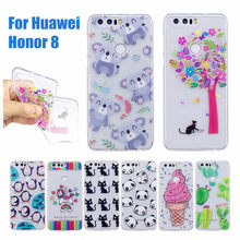 For Huawei Honor 8 TPU Case Cover 3D Relief Pattern Cute Cases for Huawei Honor 8 Ultra Thin Phone Cover Soft Silicon Bag Cases(China)