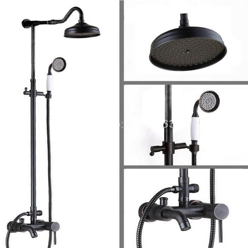 New Wall Mounted Single Handle Black Oil Rubbed Brass Bathroom Rainfall Shower Faucet Set with Hand shower ars606