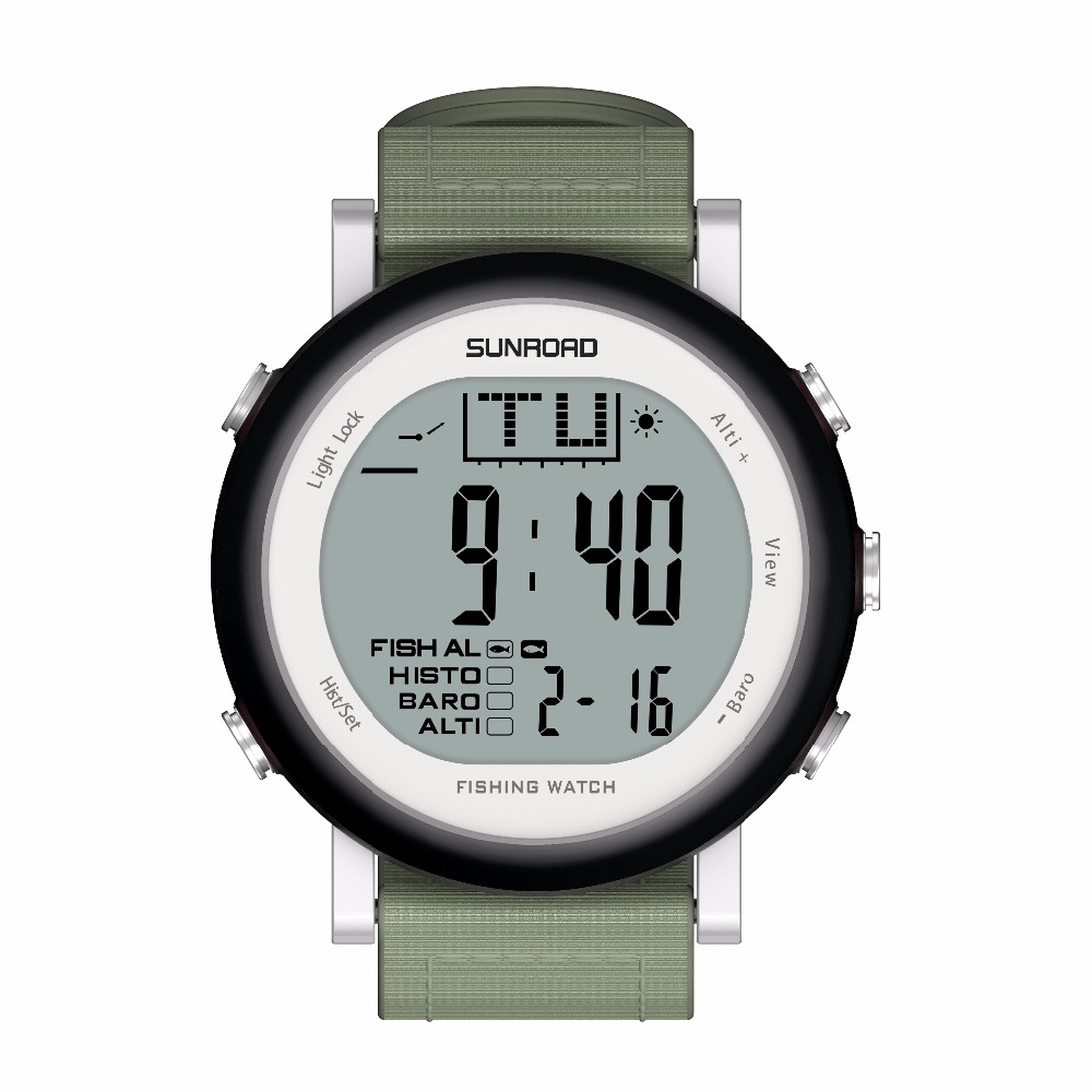SUNROAD FR721A Men Fishing Sports  Watch - Digital Stopwatch/Altimeter/Barometer/Thermometer  with Nylon Strap Clock (Black)