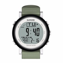 SUNROAD Fishing Watch Weather Forecast Altimeter Barometer Thermometer Outdoor Climbing Watch Waterproof Men Woman Clock (Black)