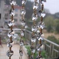 מסנוורות זכוכית קריסטל נברשת חרוזים מתומן + זהב פרפר אבזמים חלקי נברשת גרלנד סטרנד שרשרת שרשרת וילון