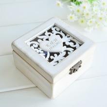 Anel personalizado, caixa rústica de anel de casamento, suporte chique, travesseiro, caixa de embalagem