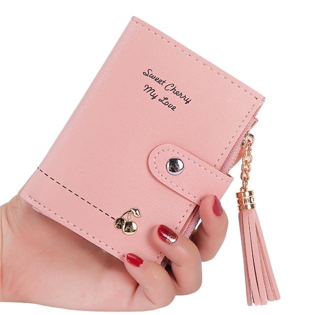 Women Wallets Lady Purses Cards Holder Short Coin Purse Pouch Tassel Zipper Hasp Woman Wallet Girls Cherry Money Bags Pockets