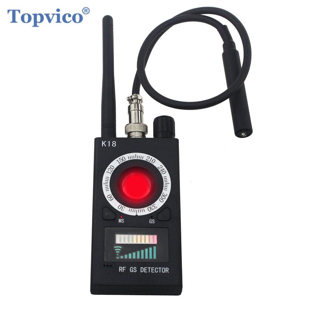 Topvico gama completa pro anti-espião detector de insetos sem fio lente da câmera escondido sinal gps tracker rf dispositivos gsm localizador magnético