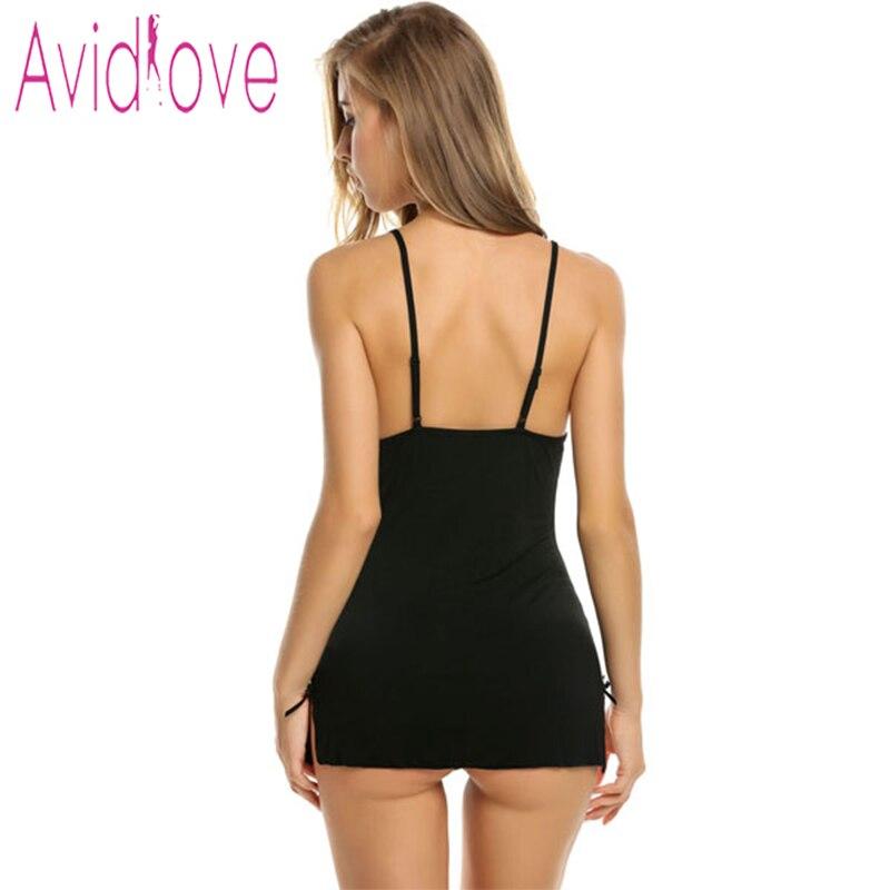 Avidlove Women Sexy Lace Nightgown Cotton Nightdress Stretch Mini Dress Sleepwear Sexy Lingerie Plus Size Nightwear for Women 3
