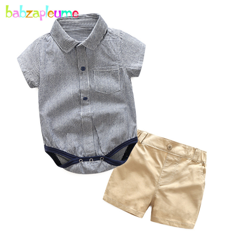Baby Summer Clothes Boys | Babzapleume 2PCS/3 24Months/Summer Baby Boys Clothes Set Fashion Stripe Gentleman Romper Bodysuit+Shorts Newborn Clothing BC1215