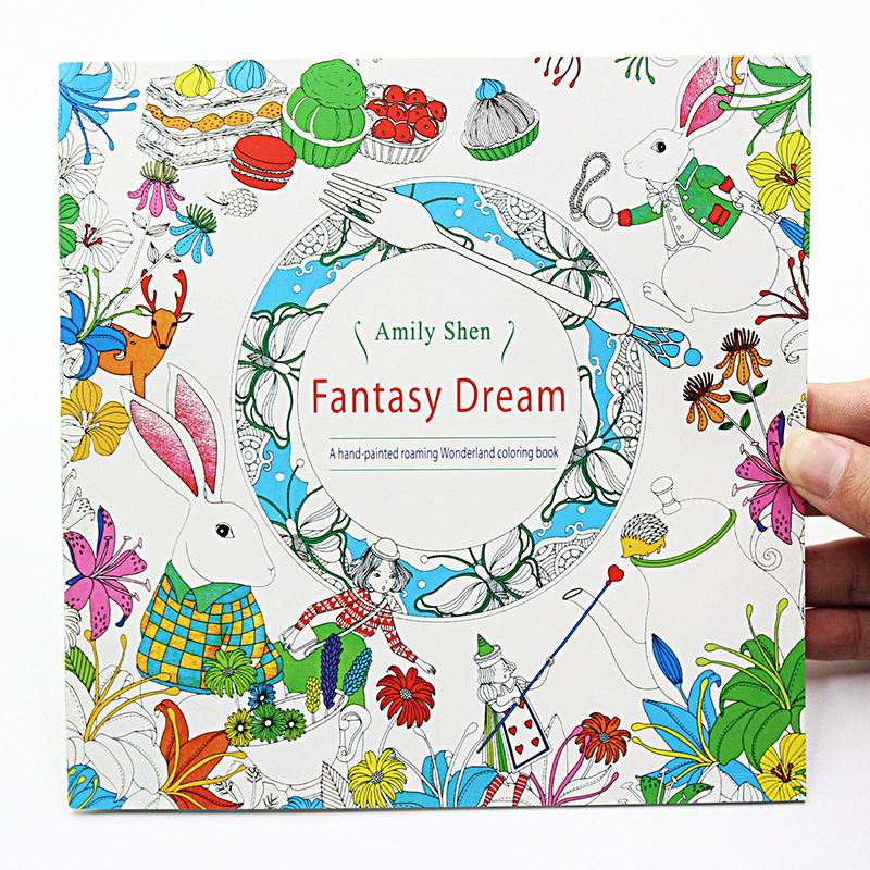 1PCS New 24 Pages Fantasy Dream English Edition Coloring For Children Adult Relieve Stress Kill Time Painting Drawing Book