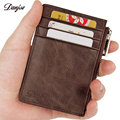 DANJUE Genuine Leather Money Clip Male Vintage Men Wallet Zipper Mini Coin Pocket Thin Man Card Case Business Credit/ID Card
