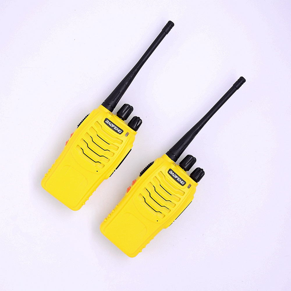 BAOFENG 888S Two Way Radio & PTT Earpiece With Microphone Interphone For Wireles Communication Ham Walkie Talkie Yellow Scaanner