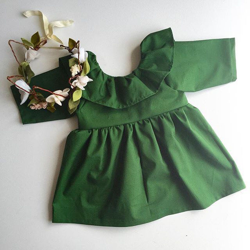2016 Spring Summer Children's Clothes Fashion Girl Vestido TUTU Dress Girls Wood Ear Europe Green Party Dress 1-4Y Free Shipping 2016 spring and summer free shipping red new fashion design shoes african women print rt 3