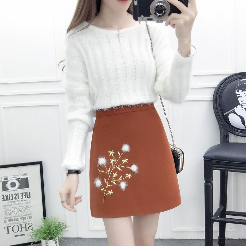 women suit korean fashion round neck sweaters embroidered woolen cloth bust skirt of tall waist two-piece autumn and winter