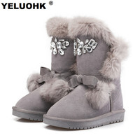 Plush Warm Female Winter Boots Fashion Crystal Ankle Boots For Women Shoes Australia Snow Boots Women