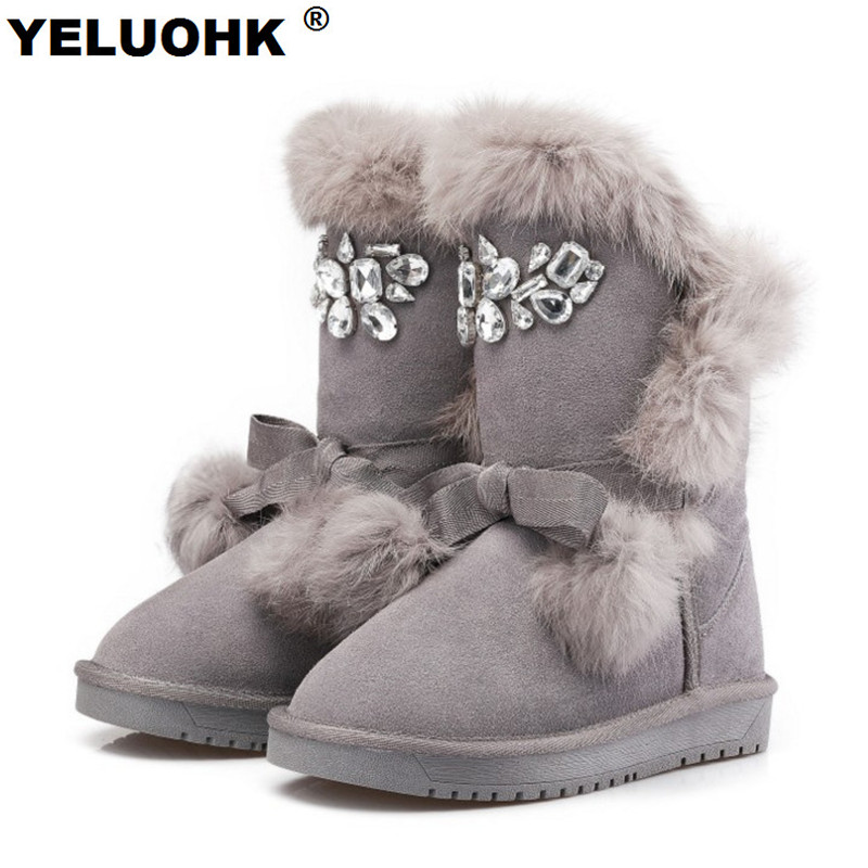 Plush Warm Female Winter Boots Fashion Crystal Ankle Boots For Women Shoes Australia Snow Boots Women Shoes With Fur Ladies Shoe 2017 women snow ankle boots female wedges fox fur winter boots warm australia fashion ladies shoes botas