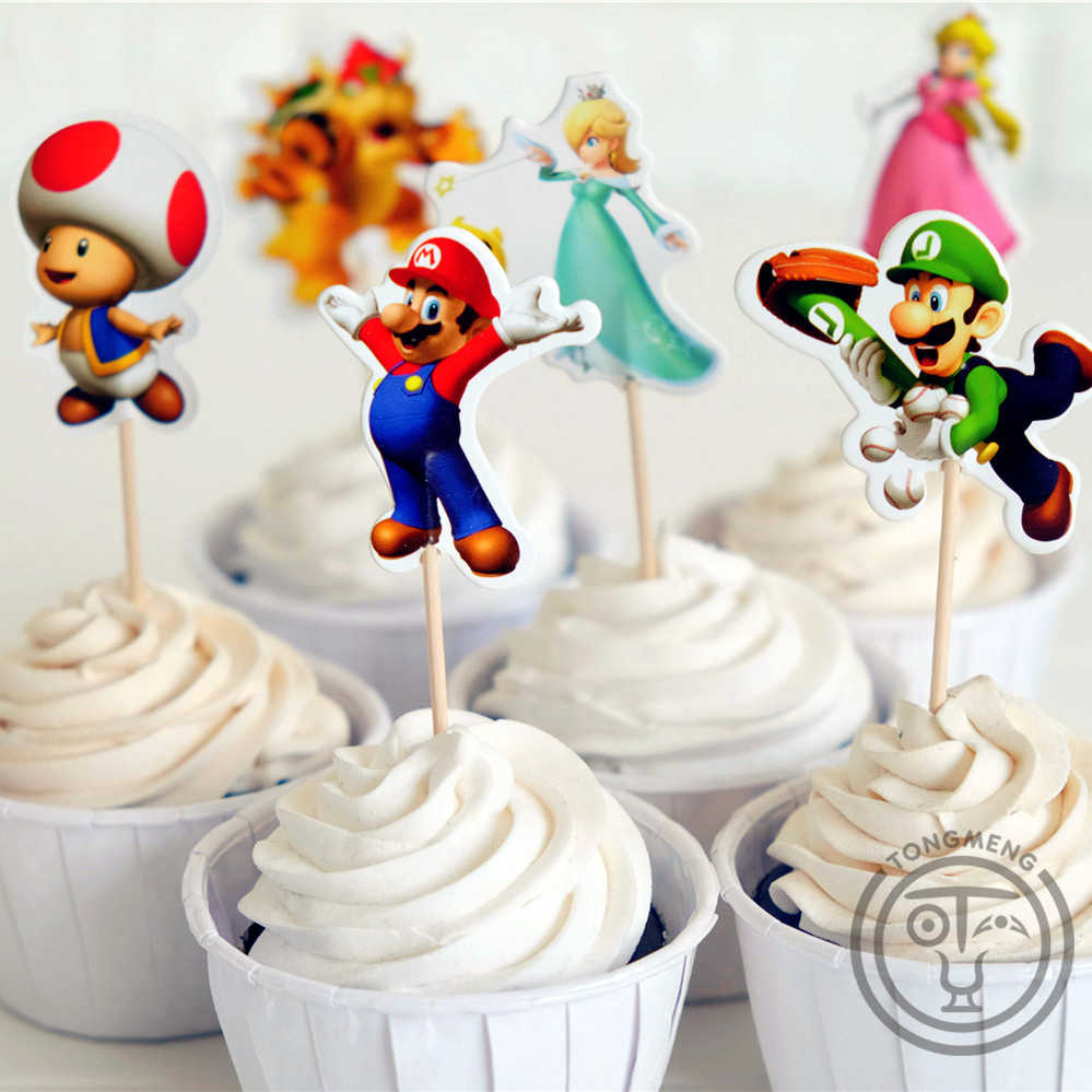 24 pcs Anime Super Mario Run Luigi Bowser Pêssego Kinopio barra de chocolate frutas pega de coco do queque do chuveiro de bebê do aniversário dos miúdos supplly