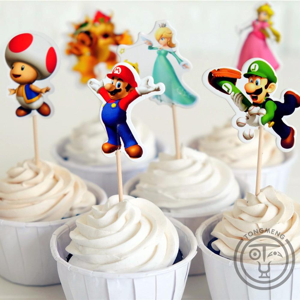 24pcs Anime Super Mario Run Luigi Peach Bowser Kinopio candy bar cupcake topper fruit picks baby shower kids birthday supplly(China)