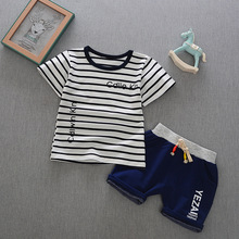New Baby Boys Clothes Sets Children Clothing Summer Short Sleeve Tracksuit for Boys Sport Suits Stripe Costume for Kids Clothes summer children baby boys cartoon clothes sets kids character short sleeve shirt ninjago printed clothing sets child sport suits