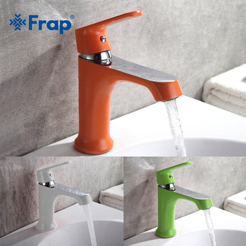 FRAP innovant mode Style maison multi-couleur bain bassin robinet d'eau froide et chaude robinets vert Orange blanc salle de bain mélangeur F1031