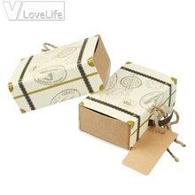 10 Uds Vintage Cajas de Regalo de recuerdo para boda maleta caja de dulces Mini cajas de Chocolate dulce bolsas para decoración de favores de boda
