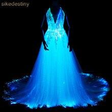 Светящееся свадебное платье светящееся в темноте умное мобильное приложение Contro светодиодный 7 переменный цвет светящийся с музыкой светодиодный волоконно-оптический