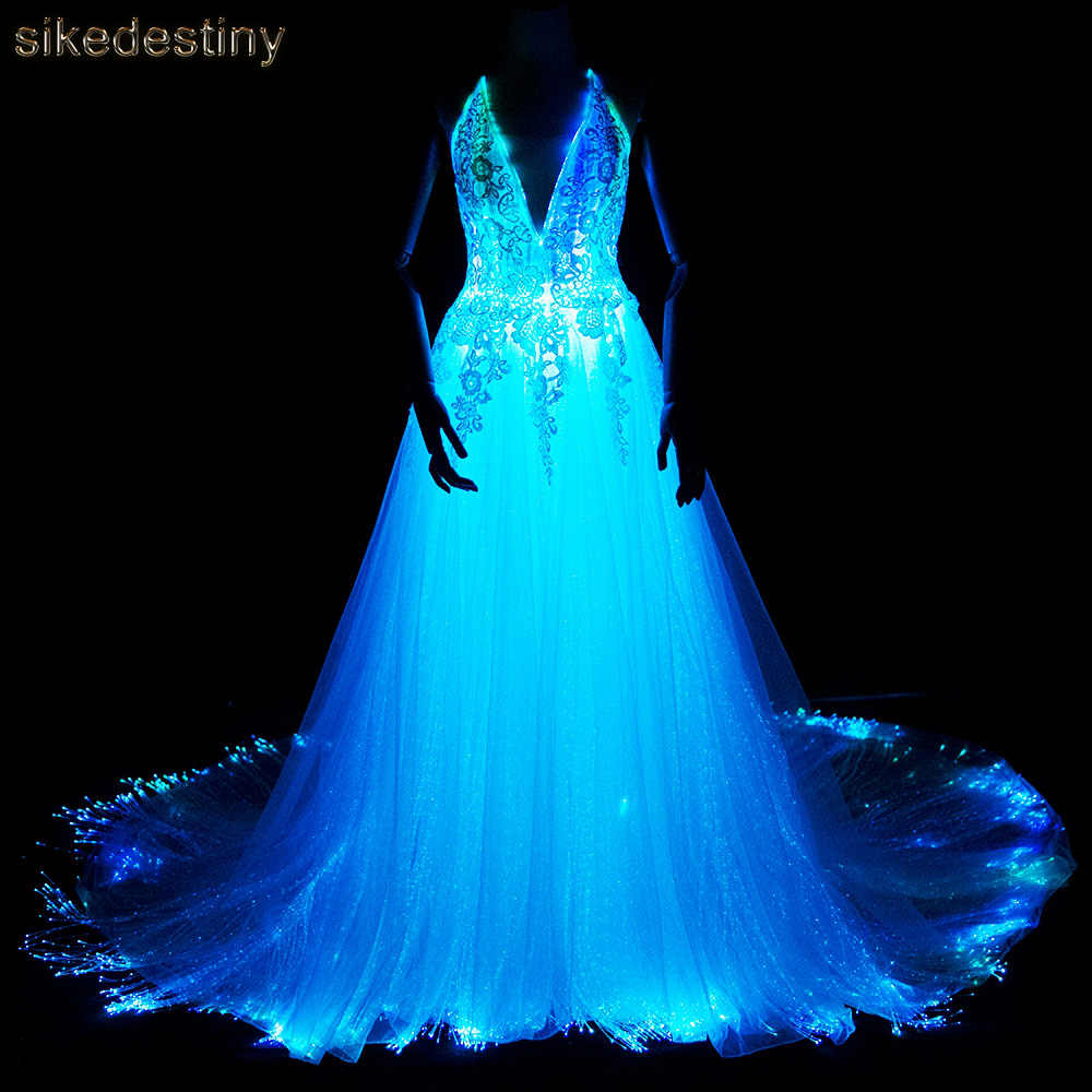 07d0821b01a Luminous Wedding Dress 2018 Night Glow In Dark Smart Mobile App Controled 7  Variable Color Shining
