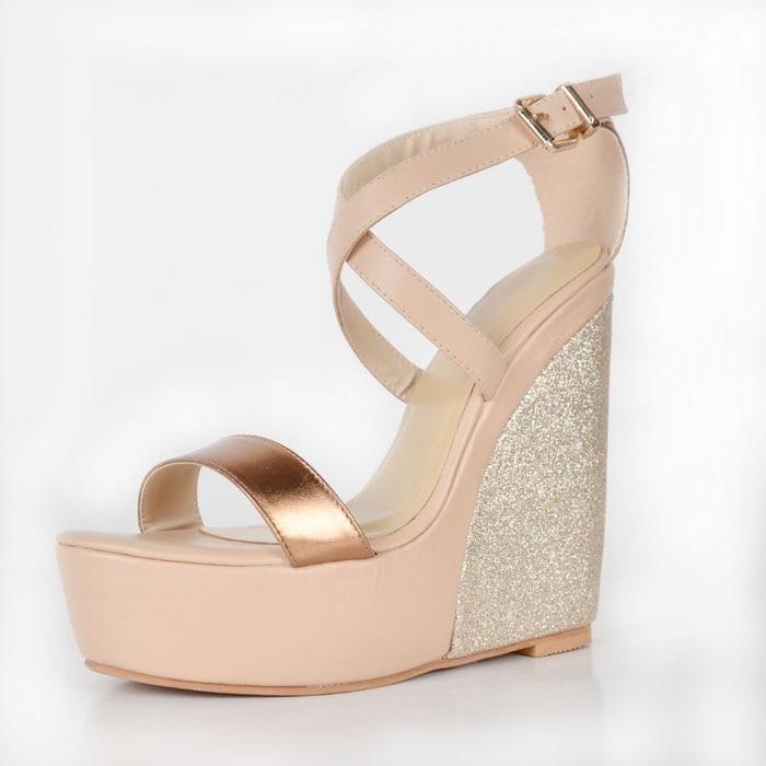 ФОТО Gold Soft Leather Nude Heel Wedges Platform Open Toe Glitter Heel Sandal For Women Plus Size 14 Cheap Sandals For Women