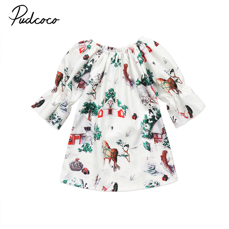 Pudcoco Toddler Kids Baby Girls Deer Princess Party Floral Dress Clothes Set Xmas Dresses