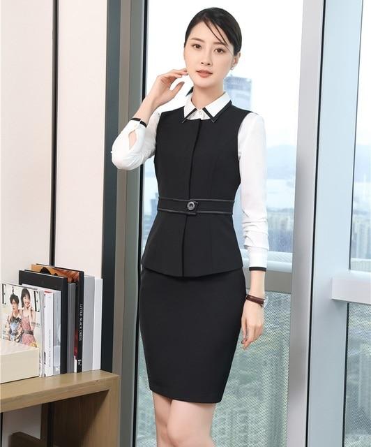 Formal mujeres de negocios Trajes con 2 unidades falda y Top Sets chaleco y  chaleco negro bd8cce201903