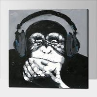 Hand Painted Canvas Oil Paintings Gorilla With Headset Wall Art Animal Oil Painting Home Decoration Abstract