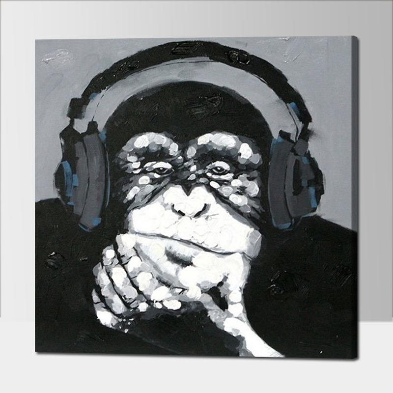 Us 24 93 Hand Painted Listen Music Gorilla Canvas Oil Paintings Black White Wall Art Animal Oil Painting For Home Decor Monkey Painting In Painting