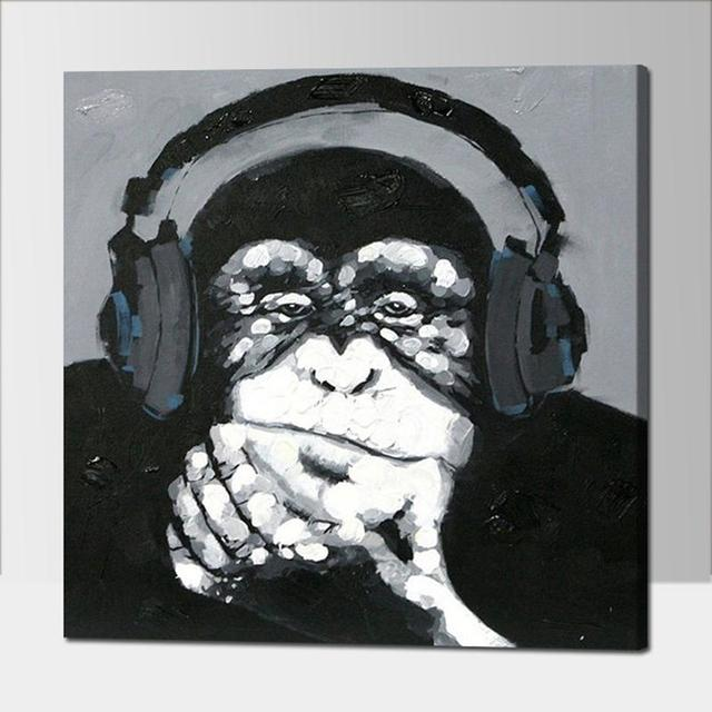 Hand Painted Listen Music Gorilla Canvas Oil Paintings Black White Wall Art Animal Oil Painting for & Hand Painted Listen Music Gorilla Canvas Oil Paintings Black White ...