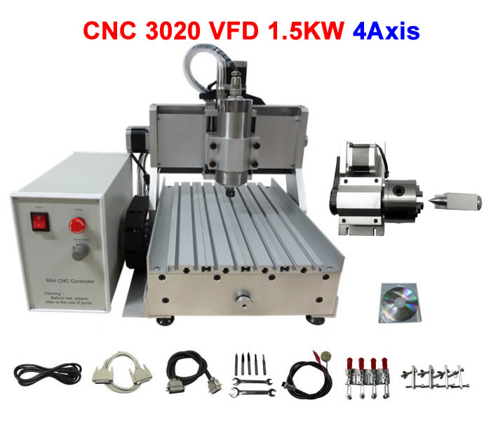 Big power CNC 3020Z-VFD1500 4 axis mini CNC router with rotary axis 1500W spindle cnc 5axis a aixs rotary axis t chuck type for cnc router cnc milling machine best quality