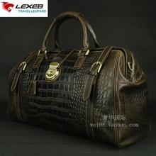 LEXEB Men's Travel Totes Elegant Alligator Patent Regular Leather Luggage Lock Weekend Bags High Quality Hand Luggage 20″ Brown