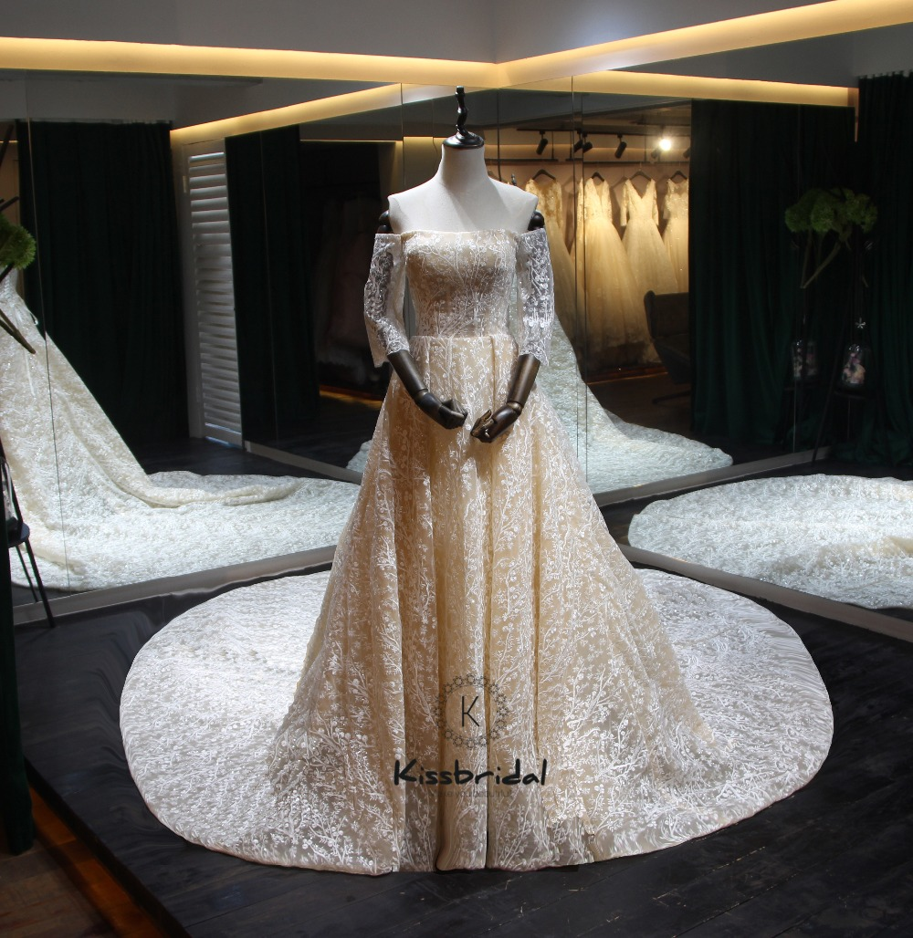 robe de mariee new champagne long wedding dress 2018 boat neck half sleeves chapel train a line. Black Bedroom Furniture Sets. Home Design Ideas