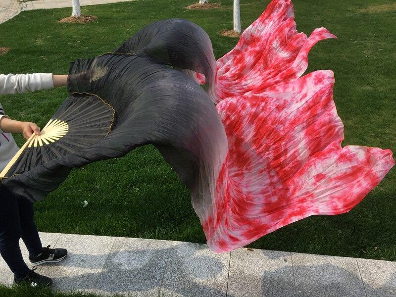 Tie Dyed Belly Dance Fan Veils For Oriental Dancing Silk Veil Fan Stage Performance Property 180cm