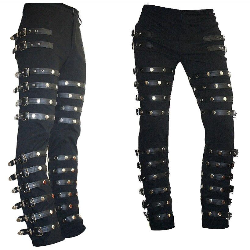 Rare Classic MJ Michael Jackson BAD PUNK Black Silm Fit Show Rock Halloween CostumePerformance Rivet Trousers /pants