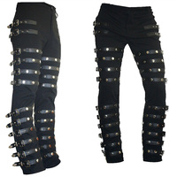 Rare Classic MJ Michael Jackson BAD PUNK Black Silm Fit Show Rock Halloween CostumePerformance Rivet Trousers /pants