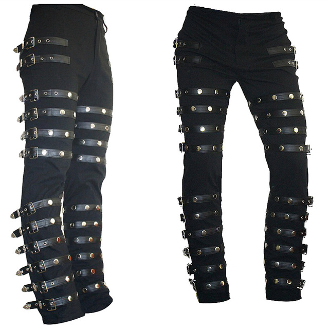 Rare Classic MJ Michael Jackson BAD PUNK Black Silm Fit Show Rock Halloween  CostumePerformance Rivet Trousers  pants c3c5a7f39852