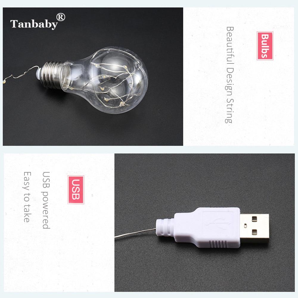 Tanbaby 5 Mt 10LED Kupferdraht in Glühbirne String Fairy Light USB ...