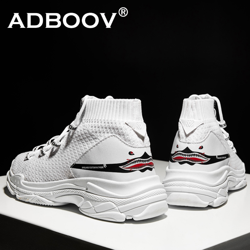ADBOOV High Top Sneakers Men Unisex Knit Upper Breathable Shoes Fashion Shark Logo Couple Black / White Shoes Shoes Casual