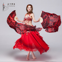 Yeni Arrivals100 % Ipek Yüksek Kaliteli Sahne Performansı Sahne 1 Çift Hayranları dans Batik Bambu 1.8 m ile Oryantal Dans Fanlar Ipek Peçe