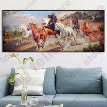 HD Print Ten Thousand Steeds Gallop Landscape Canvas Painting for Dining Room Wall Decor Animal Art Picture Horse Pentium