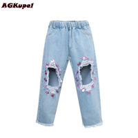 AGKupel 2017 Spring Autumn Girls Jeans Hole Sequins Baby Jean Loose Casual Elastic Waist Children Fashion
