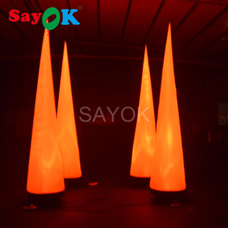 2m/6.6ft H Colorful Inflatable Cone with 13 Colors LED Light for Advertising Event Festive Party Decoration