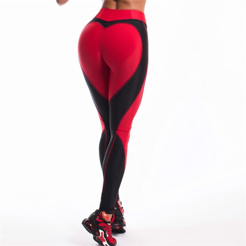 New Autumn Women Sporting Pants Sexy Slimming Workout Fitness Leggings Women Heart Shaped Patchwork Leggings Breathable Leggins