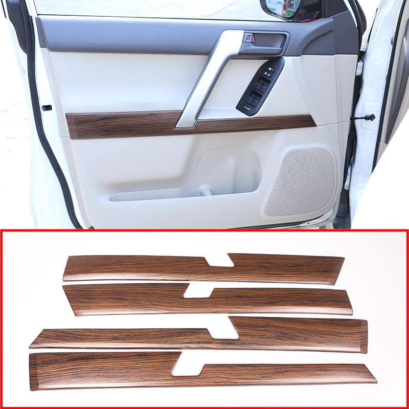 4pcs Pine Wood Grain Car ABS Interior Door Decoration Panel Trim For Toyota Land Cruiser Prado
