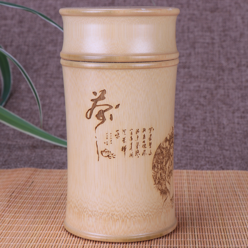 Bamboo Opbevaringsflasker Til Køkken Jars Te Container Cans Case Organizer Spice Box Canister Carving Runde Te Caddy Decoration