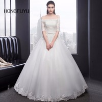 Vestido de Baile Vestidos de Casamento 2018 Vestido Noiva Casamento Vestidos de Noiva Custom Made Fora Do Ombro Mangas Meia Vestidos de Noiva Espartilho
