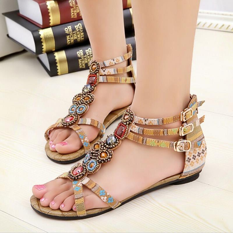 Summer Girl Sandals Nice New Tenis Feminino Bohemian And Ethnic Style Girl Shoes Crystal Platform Sandalias Femininas